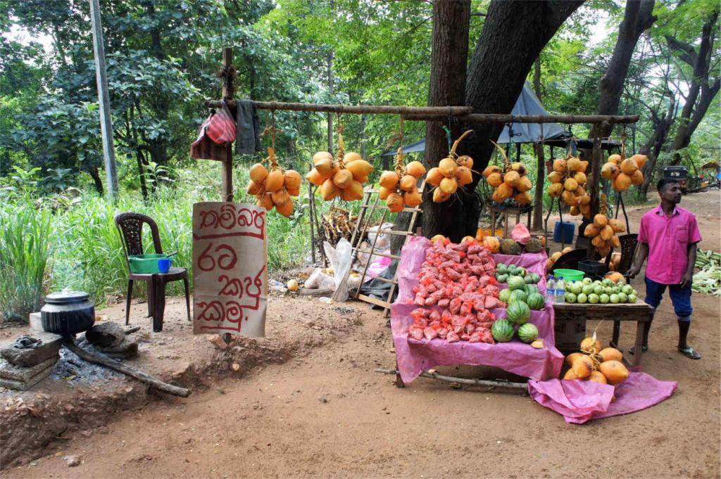Kolorowy targ przy trasie, Sri Lanka