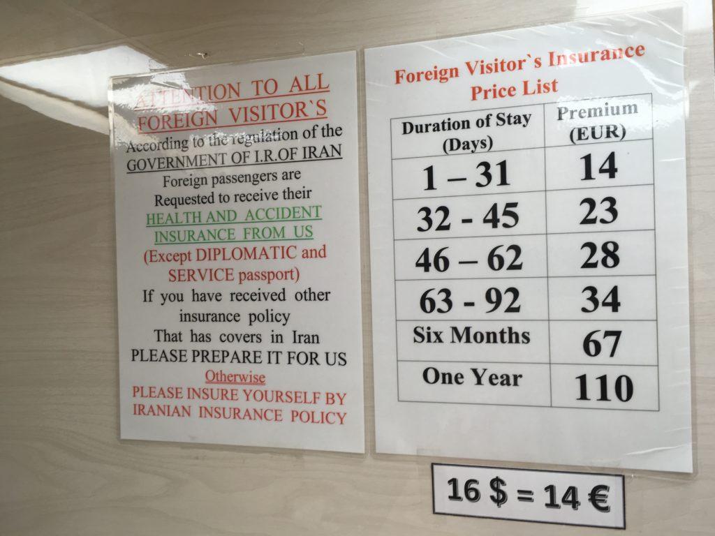 ceny irańskiego ubezpieczenia, które można kupić po przylocie