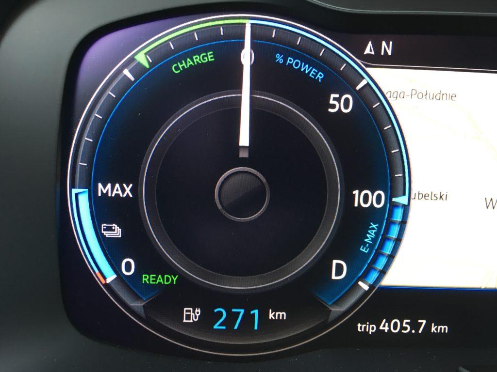 Volkswagen ma czytelny wskaźnik zasięgu, zużycia i odzysku energii