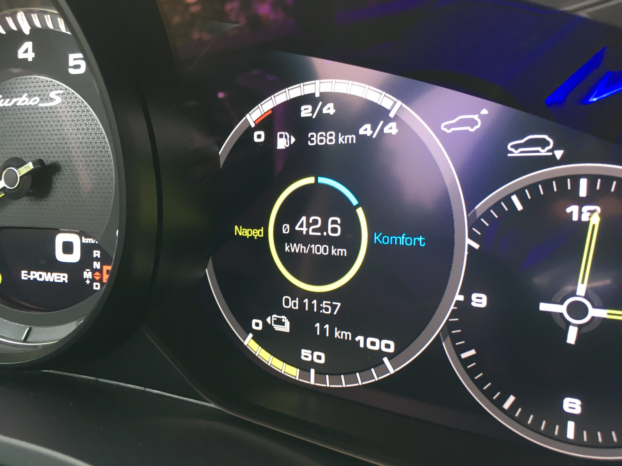 Wskaźniki Porsche Cayenne Turbo S e-hybrid Coupé mogą informować o parametrach jazdy bezemisyjnej
