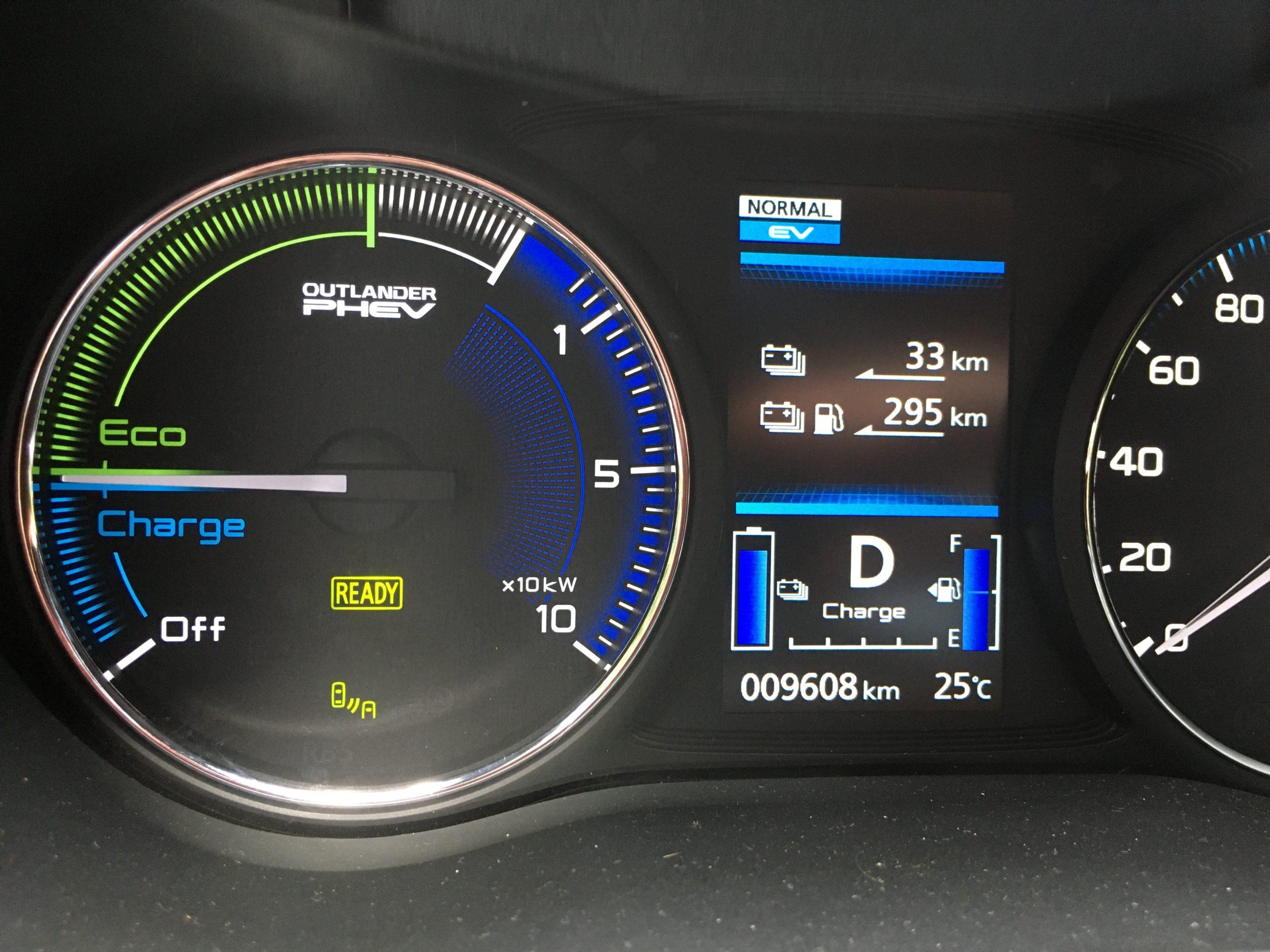Kierowca Mitsubishi jest dobrze informowany o parametrach jazdy zeroemisyjnej