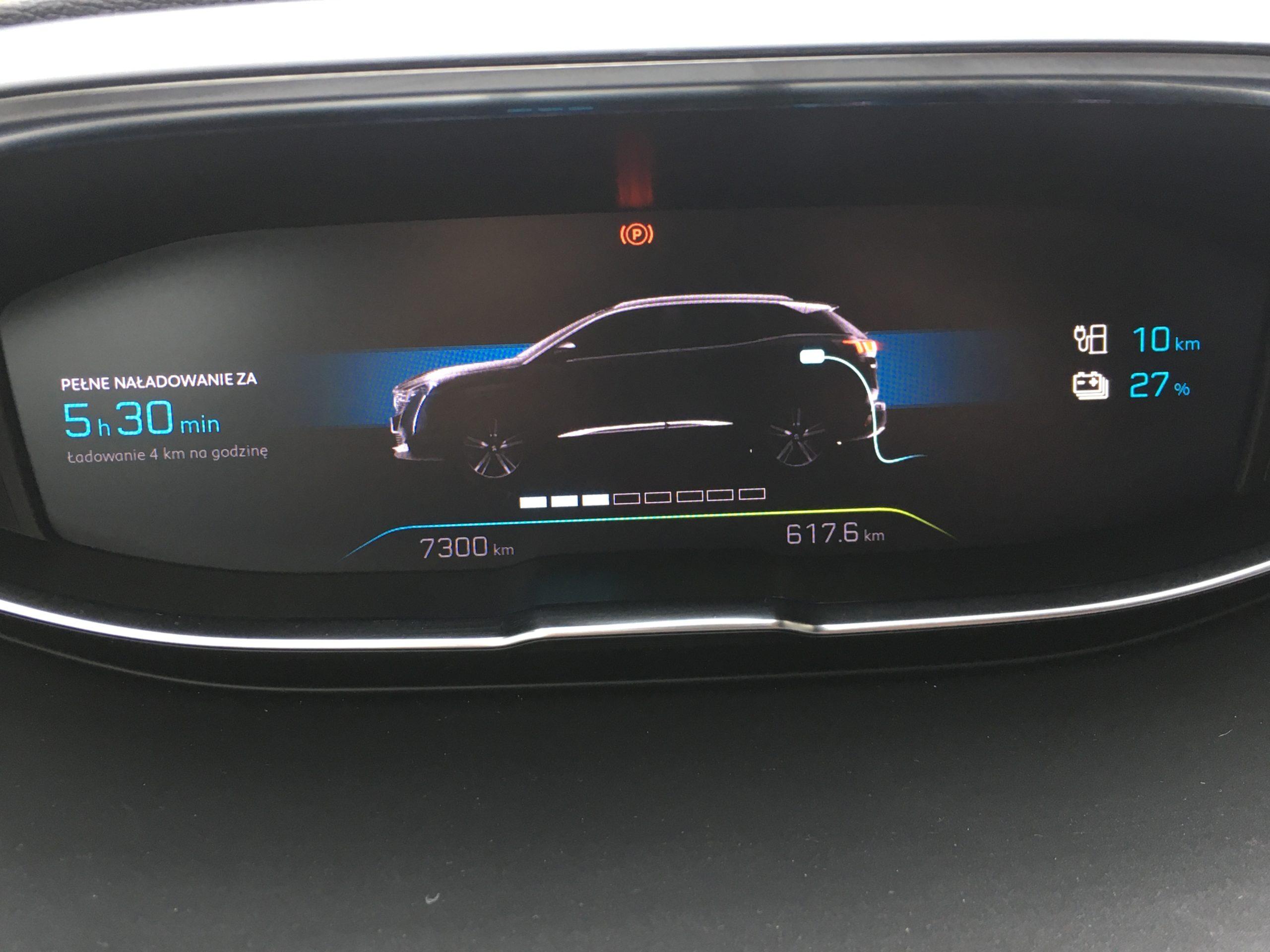 Peugeot 3008 GT Pack HYbrid4 wzorowo pokazuje parametry ładowania
